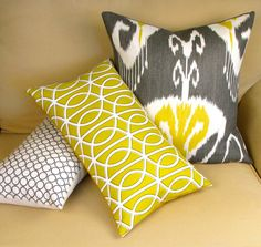 Set of THREE Linen and Cotton Geometric Print Pillows. $110.00, via Etsy.