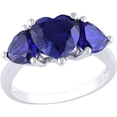 4-1/10 Carat T.G.W. Heart-Shaped Sapphire Fashion Ring in Sterling Silver