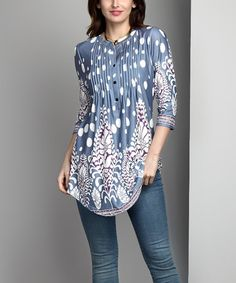 This Blue Vine Dot Notch Neck Pin-Tuck Tunic - Plus is perfect! #zulilyfinds