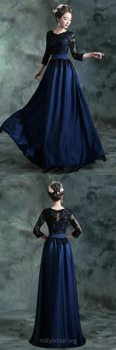 A-line Prom Dresses, Long Prom Dresses, Blue Formal Dresses, Scoop Neck Tulle Elastic Woven Satin Appliques Lace 3/4 Sleeve Evening Party Gowns
