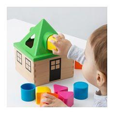 IKEA - MULA, Plocklåda, , Varför passar inte den här klossen i hålet? Aha, den har en annan form! Med den här plocklådan kan ditt barn lekande lätt lära sig att det finns olika färger och former.Hjälper barnet att utveckla finmotoriken och koordinationen mellan öga/hand.