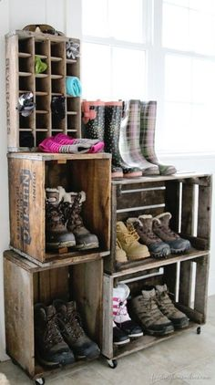 a vintage crate boot rack a vintage crate boot rack you can use as many crates you like to create this awesome shoe storage system much more elegant