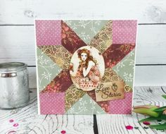 Learn to make this beautiful SANTORO®'s Willow Patchwork Card with our free Printable Template