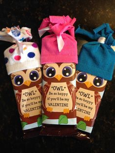Valentine's Day Owl candy bar wrappers. by ByDesignGraphics