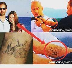 #PaulWalker... #tattoo of his daughter's name, #Meadow Go Follow ➡ @Furious8_Movie  #Paul #Walker #rip #paulwalkerrip #Vindiesel #ideas #Idea #tattooed #tattoos #tattooideas #F8 #daughters #daughter #Missyou #Loveyou
