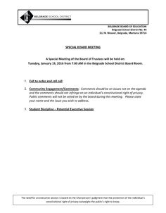 Special Board Meeting Agenda  Public Notices