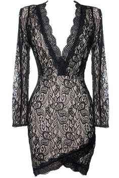 Bella Donna Dress: Features a plunging scalloped lace neckline framed by long well-tailored sleeves, intricate paisley lace shell with contrast lining for pop, hidden side zip closure, and a crossover tulip hem to finish.