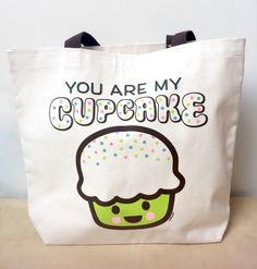 Limited edition screen printed canvas tote bags featuring the cover design from Joyce Wan's best-selling book You Are My Cupcake. Together with the book, this tote would make a nice new baby gift. Wou