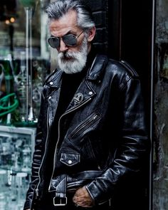 sexy old man look black leather sexy alter Mann schwarze Lederjacke aussehen sexy old man look black leather jacket - Leather Jacket Outfits, Men's Leather Jacket, Biker Leather, Leather Men, Leather Jackets, Vintage Leather, Mens Biker Jacket, Custom Leather, Soft Leather