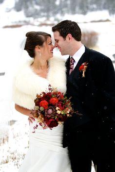 Winter wedding inspiration, cream shawls, snow, maroon flowers, Chanel faux fur bolero, Lake Tahoe - DesiresPhoto