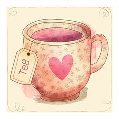 love tea Art Print ($18) ❤ liked on Polyvore featuring home, home decor, wall art, deer home decor and deer wall art