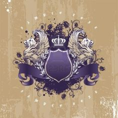 Vintage - grunge vector coat of arms with winged lions Stock Photo - 9857391