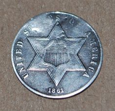 United States 3 Cent Silver Coin, 1861
