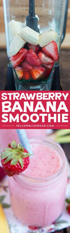Learn how to make a Strawberry Banana Smoothie with this easy recipe! Just four … Learn how to make a Strawberry Banana Smoothie with this easy recipe! Just four ingredients for a creamy, healthy, delicious smoothie that everyone will love. via Kristin B How To Make Smoothies, Yummy Smoothies, Breakfast Smoothies, Smoothie Drinks, Yummy Drinks, Breakfast Fruit, Healthy Drinks, Easy Smoothie Recipes, Shake Recipes