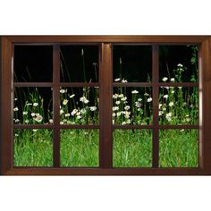 Wall mural window, self adhesive, wildflower garden window view-3... ($25) ❤ liked on Polyvore featuring home, home decor, window treatments and window coverings