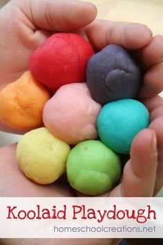 One of my favorite recipes for playdough is one that goes back to my days of being a preschool teacher – Koolaid Playdough. The scent and bright colors make it even more fun to play with. The recipe itself can be pulled together in about ten min