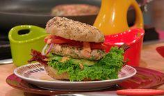 BLAST Burgers (Bacon, Lettuce, Avocado, Salmon and Tomato Burgers with Sriracha Aioli) | Rachael Ray Show