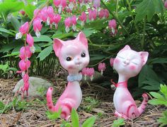 Vintage Cat Figurines Hot Pink Striped Pair Boy & Girl Kitty