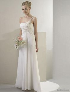 Sheath/Column One-Shoulder Sweep Train Chiffon Wedding Dress | Chiffon Sheath/Column One Shoulder Sweep/Brush Train Wedding Dress ...