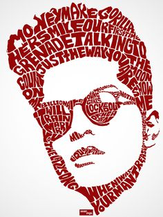 In this example of Typography, the image of pop singer Bruno Mars is formed by words that are actually, titles of his songs.   https://www.typotheque.com/articles/what_is_typography http://www.sickchirpse.com/celebrity-portraits-made-using-typography/