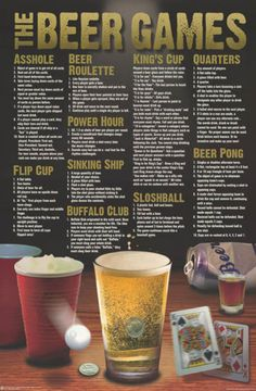 Beer Games Drinking College Fun Poster - Drinking games for parties - Beer Drinking Games, Beer Games, Drinking Games For Parties, Adult Drinking Games, College Drinking Games, College Drinks, Drunk Games, Kings Cup Drinking Game, Party Games For Adults