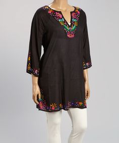 Love this Black Embroidered Notch Neck Tunic - Plus by Blue Island on #zulily! #zulilyfinds