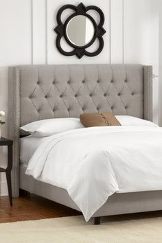 Diamond Tufted Headboard With Pewter Nail Ons Linen Grey