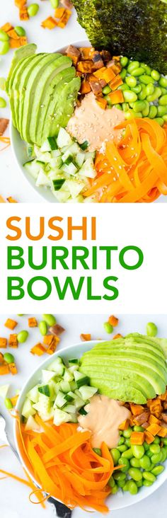 Sushi Burrito Bowls: all of your favorite flavors from sushi in an easy-to-make, 20-minute meal! It's gluten free, vegan, and packed with healthy ingredients! || fooduzzi.com recipe