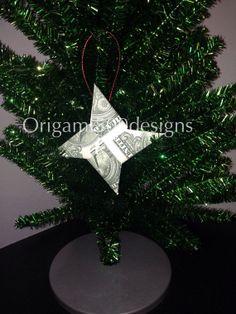 Money Origami NINJA STAR Christmas Tree Ornament