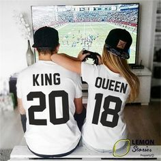 King and Queen shirts couple t shirt couple tees King Queen 01 couple tshirts funny matching couple shirts wedding gift anniversary gift Couples Assortis, Cute Couples Goals, Couple Goals, Cute Soccer Couples, Funny Couples, Matching Couple Outfits, Matching Couples, Matching Shirts, Cute Relationship Goals