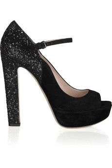 Miu Miuglitter finish suede Mary jane pumps ( a must have)