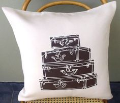 Items similar to Vintage Suitcases Scatter Cushion Cover on Etsy Scatter Cushions, Throw Pillows, Vintage Suitcases, Decoration, Home Projects, Unique Jewelry, Cover, Handmade Gifts, Design