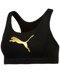 94e85d2c3d581 Puma Powershape Forever Gold dryCELL Mid-Impact Racerback Sports Bra Gold Sports  Bras