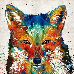 Colorful Fox Art - Foxi - By Sharon Cummings Fine Art Prints and Posters for Sale #sharoncummings