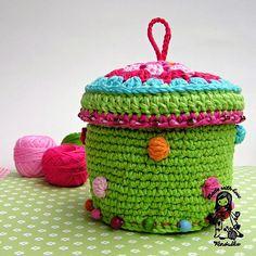 Colorful basket / container digital crochet pattern by VendulkaM