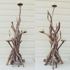 Our 3 Foot Tall Driftwood candelabras  www.driftingconcepts.com