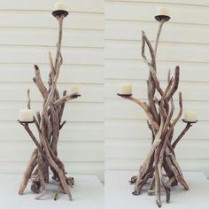 Our 3 Foot Tall Driftwood candelabras  www.driftingconcepts.com