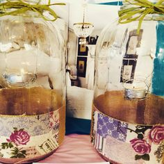 Two lovely old jars up-cycled into lovely lanterns at Little Nook Woodford today