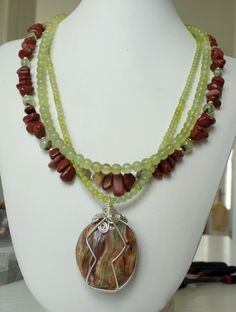 Statement exclusive multi-strand necklace Red Jasper, round Jade and Prehnite, wire wrapped Pakistan Onyx gemstone pendant by DharmaArtDesign on Etsy