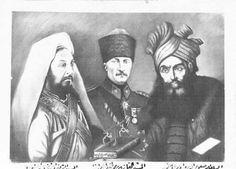 1920'lerde İslam dünyasında Atatürk, Selahaddin Eyyübi ve Şeyh Ahmet Sünusi, Hristiyan Haçlı emperyalizmine başkaldıran üç lider olarak görülüyordu. O dönemlerden kalan bir resim.