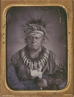 "Keokuk, a well-known Sac and Fox chief, captured in this 1847 daguerreotype by Thomas Easterly. His resolute gaze is suggestive of his alias, the ""Watchful Fox."" Keokuk was the chief of a tribe recognized by the government as the Sac and Fox band of the Mississippi. At the time, the tribe lived on the Nemaha Reservation, south of the Missouri River, near the mouth of the Little Nemaha. Keokuk's tribe had been moved there from Iowa just months before he visited Easterly's studio in St. Louis."
