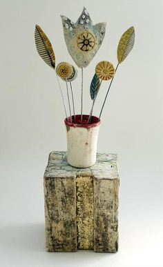 Yorkshire Flowers by Shirley Vauvelle in Sculpture Archive, Sculpture using earthernware,dritfwood, vintage map and wave worn find. Paper Mache Clay, Clay Art, Clay Fairy House, Polymer Clay Figures, Arts And Crafts, Diy Crafts, Paperclay, Ceramic Flowers, Air Dry Clay