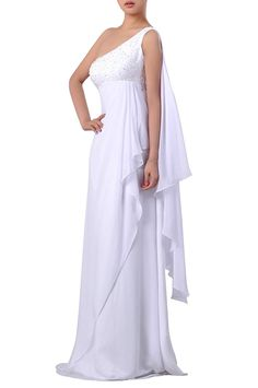 Chiffon Empire Waist One Shoulder A-line Wedding Dress * Awesome product. Click the image : Plus size evening gowns