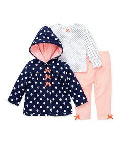 Look at this #zulilyfind! Navy Polka Dot Jacket Set #zulilyfinds