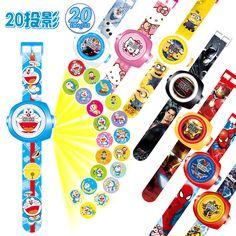 23センチマルチスタイル漫画投影3d 20投影車キティドラえもんのおもちゃ電子時計24画像アベンジャーズスパイダーマン時計