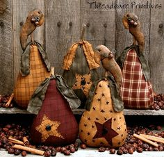 PATTERN Primitive Pears Stars and Crows Ornies Doll