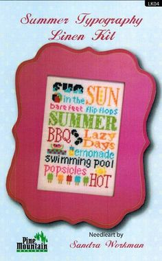 Summer Typography Linen - Cross Stitch Kit