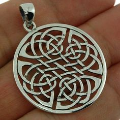 Large Sterling Silver Round Celtic Knot Pendant 1 2in 30mm Irish Jewelry PN74 | eBay
