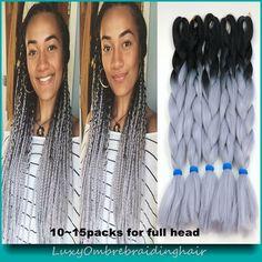 Now available @Hawtinhair.com Free Shipping 10p...  Check it out   http://hawtinhair.com/products/free-shipping-10pcs-lot-100g-pc-black-grey-ombre-box-braids-dreadlocks-hair-extensions-ombre-kanekalon-jumbo-braiding-hair?utm_campaign=social_autopilot&utm_source=pin&utm_medium=pin