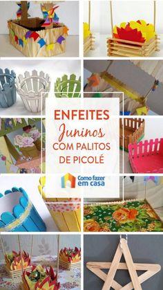 Enfeites com palitos de picolé para festa junina | Como fazer em casa Mother's Day Projects, Popsicle Crafts, Driftwood Crafts, Party, Hobby, Diy Party, Hampers, Needlepoint, Bricolage